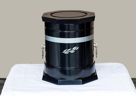 Decorative Steel Black Gloss Finished Urn with Siver Band